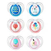 Tommee Tippee Closer To Nature Everyday Pacifier, 0-6 Months, 2 Count (Colors will vary)