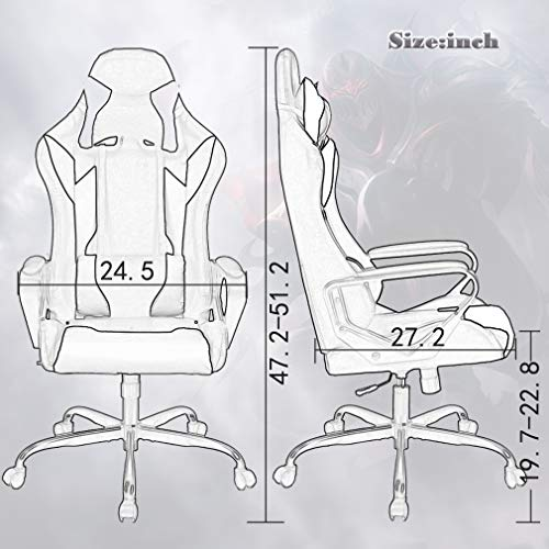 BestMassage Office Desk Gaming Chair High Back Computer Task Swivel Executive Racing Chair for BackSupport with Lumbar Support Adjust Headrest Armrest (Gaming Chair Blue)