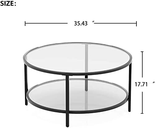 InsifoHome Round Glass Coffee Table