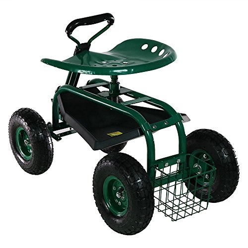 Sunnydaze Garden Cart Rolling Scooter with Extendable Steering Handle, Swivel Seat & Utility Basket, Green by Sunnydaze Decor (Image #5)
