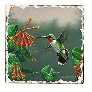 Counter Art CART11000 Hummingbirds Number 2 Single Tumbled Tile Coaster