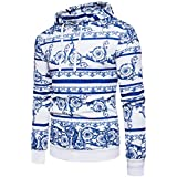 Ninasill Mens Autumn And Winter Retro Print Hoodie Hooded Sweatshirt Tops Jacket Coat Outwear (M, white)