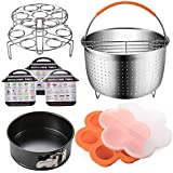 Accessories Set Compatible with Instant Pot 6,8 QT, Steamer Basket with Divider, Springform Pan, Egg Bites Mold, Stackable Steamer Racks, Magnetic Cheat Sheet by SiCheer