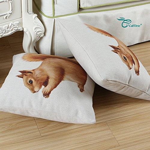 CaliTime Canvas Throw Pillow Cover Shell for Couch Sofa Home Decor, Animals Theme Print 18 X 18 Inches, Brown Squirrel