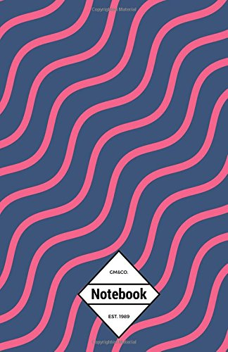"""Read Online GM&Co: Notebook Journal Dot-Grid, Lined, Graph, 120 pages 5.5""""x8.5"""": Swirl Wave Neon Pink Navy PDF"""