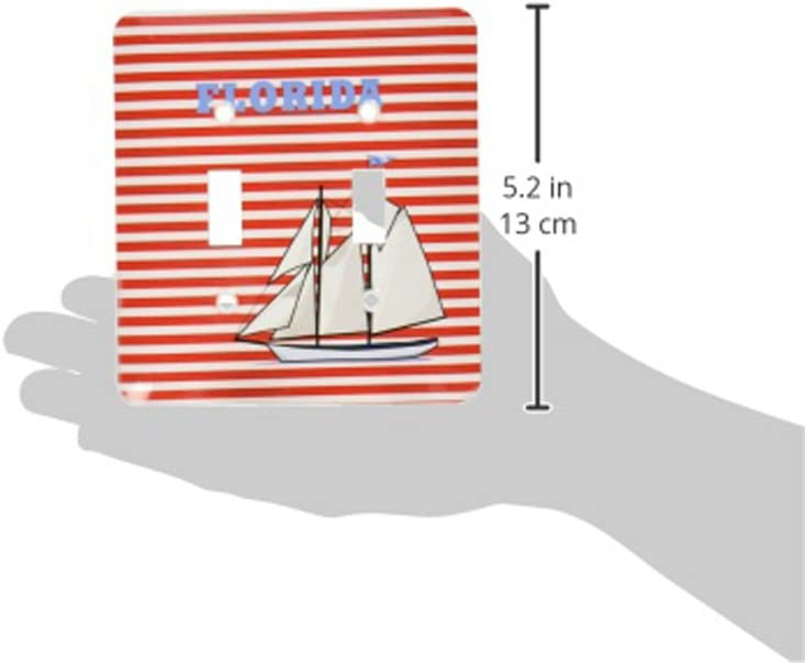 3dRose  lsp/_100606/_2 Florida with Sailboat On Nautical Red Stripes Double Toggle Switch