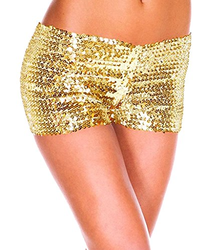 Women Summer Sparkling Sequin Tap Shorts Beach Hot Pant Gold Small (Sequin Hot Pants)