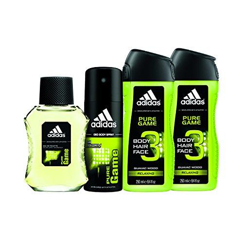 adidas Home & Gym – Pure Game 4pc Set – 1.7 oz Eau De Toillette (Home) + 4 oz Body Spray, 2 x 8.4 oz Body Wash (Adidas Set Edt Spray)
