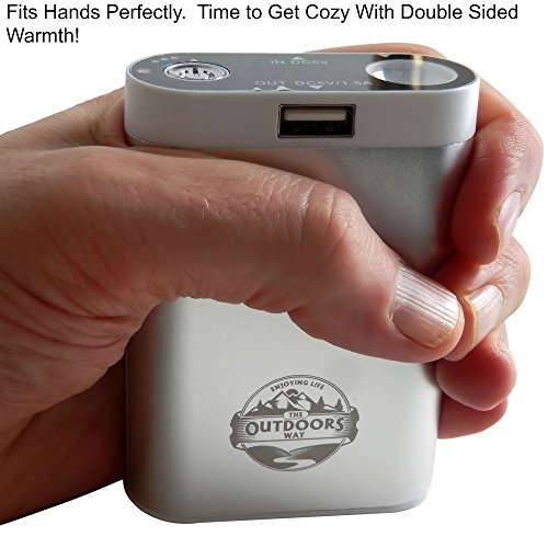 Electric Hand Warmer From The Outdoors Way, Rechargeable Accessory For Hunting And Winter Sports! Handwarmer Includes Phone Charger + LED Flashlight + Carry Pouch+ 2 Colors Options.