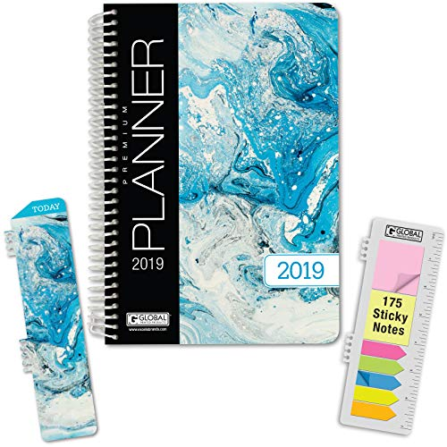 """HARDCOVER Calendar Year 2019 Planner: (November 2018 Through December 2019) 5.5""""x8"""" Daily Weekly Monthly Planner Yearly Agenda. Bonus Bookmark, Pocket Folder and Sticky Note Set (Blue Marble)"""
