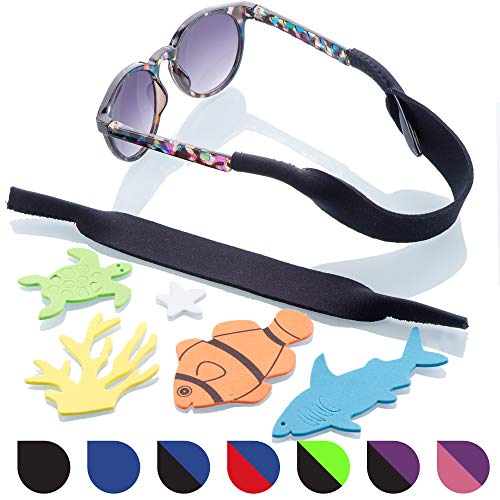 Baby Glasses and Sunglasses Strap 2pk | Active Kids with Bonus Stickers (Black)