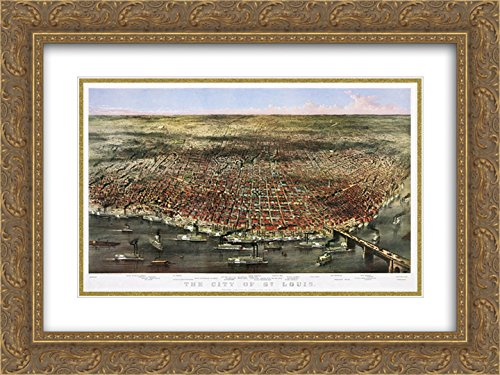 Currier and Ives 2x Matted 24x20 Gold Ornate Framed Art Print 'City of St. Louis. Bird's-eye view of St. Louis, Missouri, as seen from above the Mississippi River - Louis Missouri St Galleria
