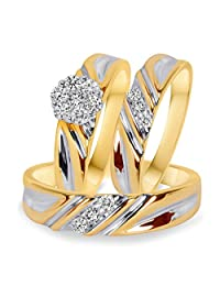2heart 14k Yellow Gold Fn 3/8 Ct Diamond Cluster Engagement Wedding Band Trio Ring Set