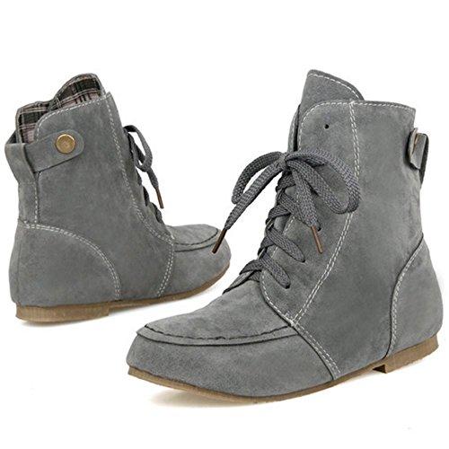 Mujer casuales Botines Cordones con Plano RAZAMAZA Grey Zapatos q7gaWRRZ