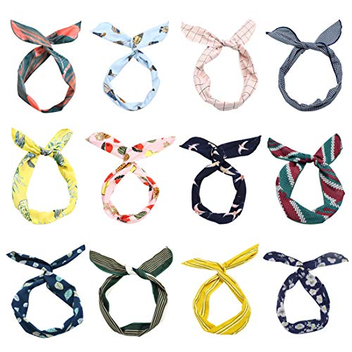 (LZYMSZ 12PCS Twist Bow Wired Headbands, Iron Wire Bow Knotted Flower Hairband,Yoga Head Wraps Sports Turban, Vintage Printed Criss Cross Knotted for Women Girls(12-2019TS))