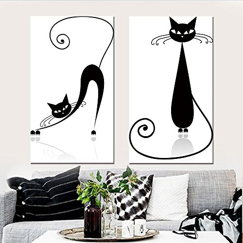 Wall Art Canvas Modular Pictures Animal Abstract Painting Cat Mordern Posters and Prints Nordic Home Decoration for Living Room (12x20inchx2pcs)