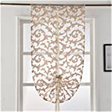 Short Kitchen Curtain Modern Window Treatment Tie Up Balloon Curtain Home Textile Sheer Curtain Panel Tulle White Black Jacquard Cream W60cm L180cm Rod Pocket