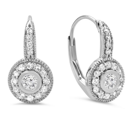 (Dazzlingrock Collection 0.45 Carat (ctw) 10K Round Diamond Ladies Cluster Halo Millgrain Drop Earrings 1/2 CT, White Gold)