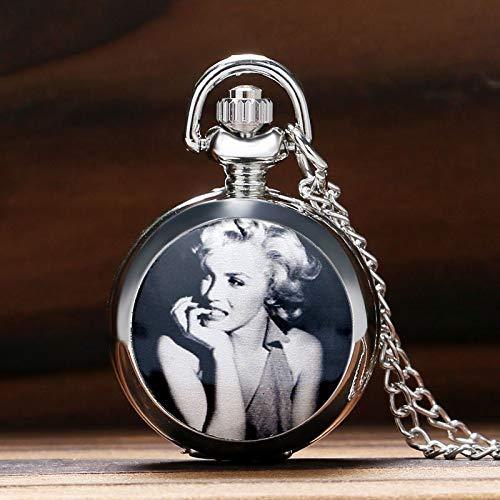 (Marilyn Monroe Pocket Watch  Glossy Silver Locket Slim Chain  Elegant Sweater Necklace  Women Ladies Girls Clock Refined Gift   Men's Pocket)
