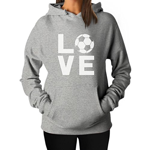Tstars TeeStars - I Love Soccer - Perfect Gift For Soccer Players/Fans Women Hoodie Small Gray - Soccer Soccer Sweatshirt