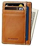 ALBRINT Rfid Blocking Minimalist Wallet Genuine Leather Slim Front Pocket Card Case (Classic Orange-E02)