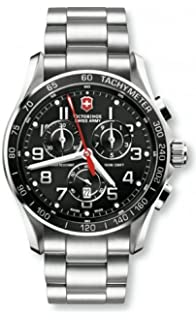 Victorinox Swiss Army Silver Stainless Band Black Dial - Mens Watch 241443