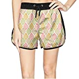 ZKDFOSPCCL Girls Colorful Skeleton Leaves Canada Beach Elastic Shorts