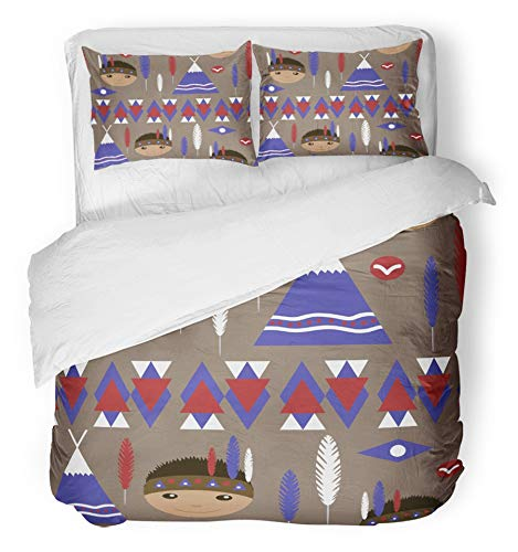 Native American Teepee Indian (Emvency 3 Piece Duvet Cover Set Brushed Microfiber Fabric Breathable Blue Abstract Kids Cute American Indian Native Retro Pattern Brown Arrow Baby Bedding Set with 2 Pillow Covers Twin Size)