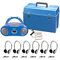 Complete 6 Station CD Boom Box Listening / Learning Center With Headphones For Classrooms Teacher and Students - Hamilton