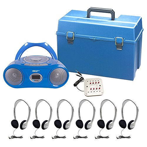Complete 6 Station CD Boom Box Listening / Learning Center With Headphones For Classroom's Teacher and Students - Hamilton]()