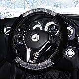 Sino Banyan Girly Diamond Bling Steering Wheel Cover,Winter Warm Wool,15 Inch