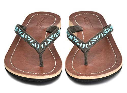 Amboss Damen Sandale, Zehentrenner mit Echt Leder Gr.36-43 Farbe: Braun, Cream, Rot, Türkis Türkis
