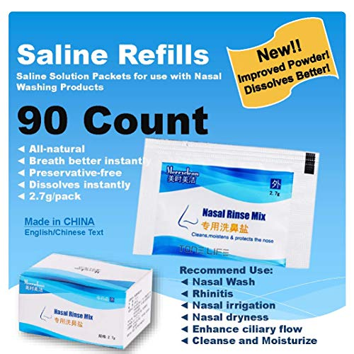 (TONELIFE 90 Count Saline Nasal Care Refills - Nasal Salt 2.7g Each Pouch | Refill Kit | 90 Buffered Salt Packets | Allergy and Congestion Relief Nasal Wash,Match 300ml Saline Sinus Rinse Bottle)