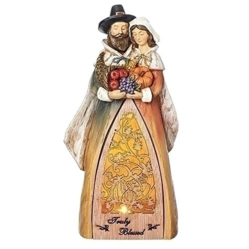 Truly Blessed Pilgrim Harvest Light Up LED 9.5 Inch Laser Cut Wood Resin Tabletop Figurine (Easy Inexpensive Halloween Costume Ideas)