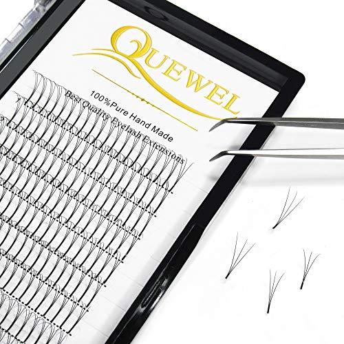 Quewel Lash Russian Volume Eyelash Extensions 3D D Curl 8-18mm Long Thickness 0.07 mm Premade Fans Volume Eyelashes Soft (3D-0.07-D, 13mm)