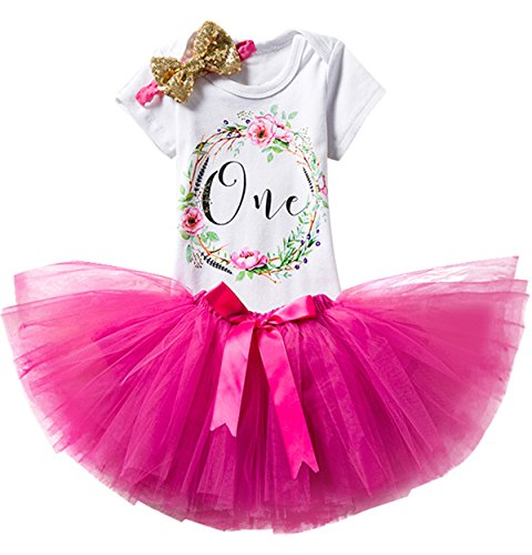 - TTYAOVO Girl Skirt Newborn 3pcs Baby's 1st Birthday Set/Outfits with Romper + Tutu Dress + Headband Size 1 Years Rose(with Flower)