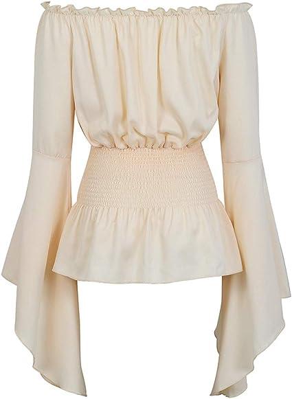 Womens Victorian Long Sleeve Boho Blouse Top Plus Size Renaissance Shirt Gothic Ruffle Pirate Skirt Cosplay Costumes