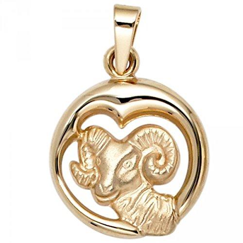 Pendentif signe du zodiaque Bélier en or jaune 375