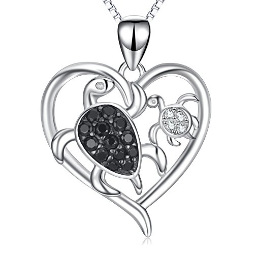 Mother's Birthday Gift Sterling Silver Mom and Child Sea Turtle Heart Pendant Necklace 18