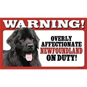 Warning! Overly Affectionate Newfoundland On Duty Dog Wall Sign Gift 5