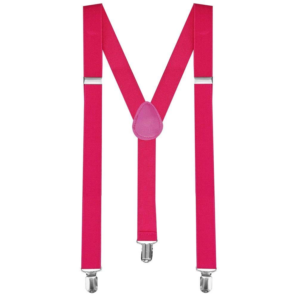 tumundo 1 Stü ck Hosenträ ger mit 3 Clips Pink Neon Breit Damen Y-Form Elastisch fü r Hose Unisex Trä ger