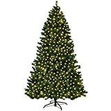COSTWAY 7FT Pre-Lit PVC Artificial Christmas Tree Auto-Spread/Close up Premium Spruce Hinged w/ 300 LED Lights & Metal Stand, Green (7 FT)