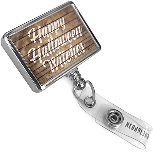 Retractable ID Badge Reel Painted Wood Happy Halloween Witches with Bulldog Belt Clip On Holder (Painted Dogs Halloween)