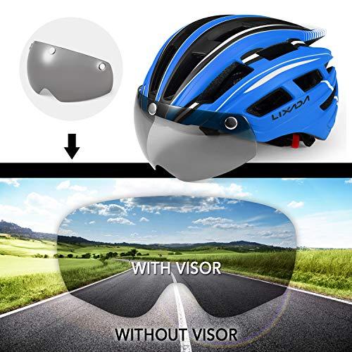 Lixada Mountain Bike Helmet Breathable Motorcycling Helmet with Back Light Detachable UV Protective Magnetic Goggles Visor for Men Women