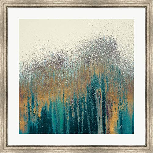 Teal Woods with Gold by Roberto Gonzalez Framed Art Print Wall Picture, Silver Scoop Frame, 34 x 34 inches ()