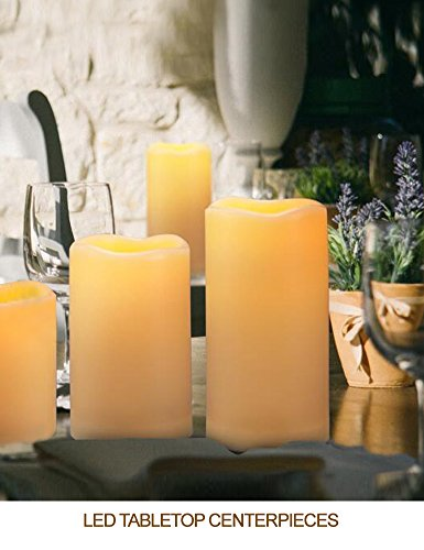 """HOME MOST Set of 4 WATERPROOF Outdoor LED Pillar Candles with Remote (CREAM, 3""""/4""""/5""""/6"""" Tall, Wavy Edge) - Outside Candles Flameless Candles with Timer Candles Battery Operated - Home Decor Candles"""