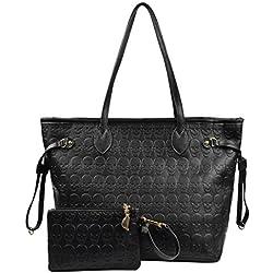 Micom Korean Style Women Black Devil Skull Pu Leather Tote Bag Shopping Bag with Clutch Handbag