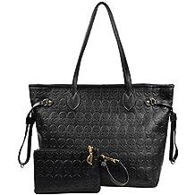 Women Devil Skull Handbags Pu Leather Top-Handle Satchel Shopping Bag with Clutch Purse