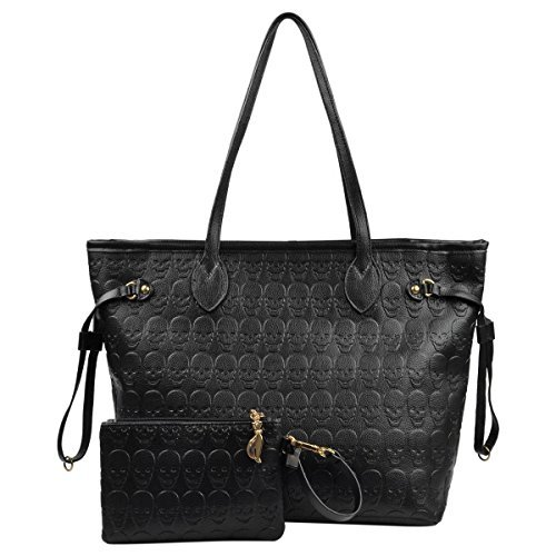 Women Devil Skull Handbags Pu Leather Top-Handle Satchel Shopping Bag with Clutch ()