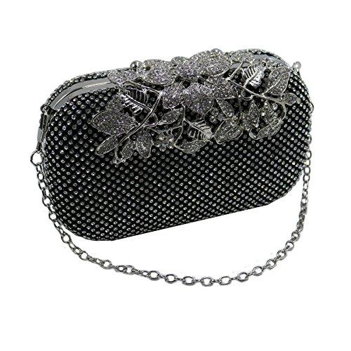 Bags Evening DMIX Women Rhinestone Diamante Flower Black Clutches Crystal qv0qwAS